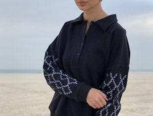 Black Embroidered Diana Sweater