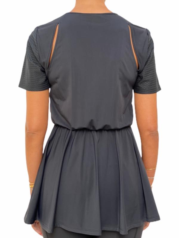 Black Shirring Top