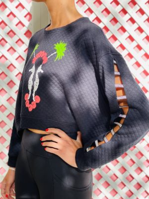 Cropped Quilted Seahorse Sweater