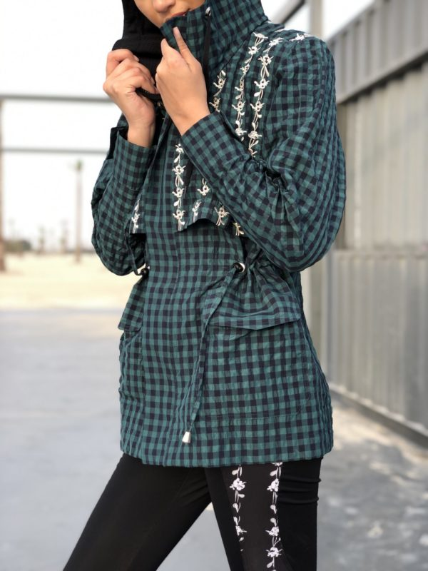 Embroidered Floral Check Parka